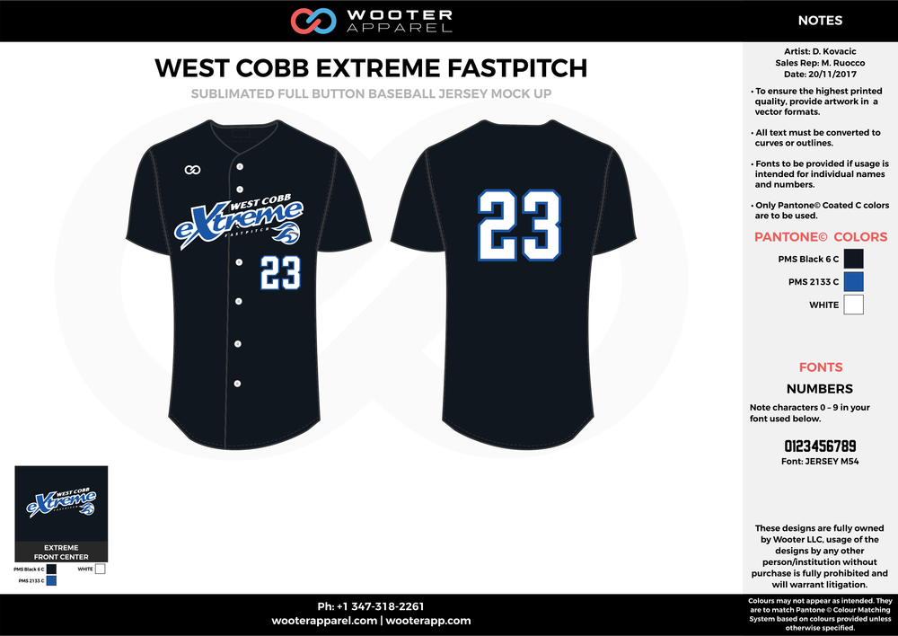 WEST COBB EXTREME FASTPITCH black blue white baseball uniforms jerseys tops