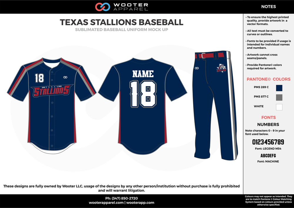 Texas Stallions Baseball - Sublimated Baseball Uniform - 2017 3.png