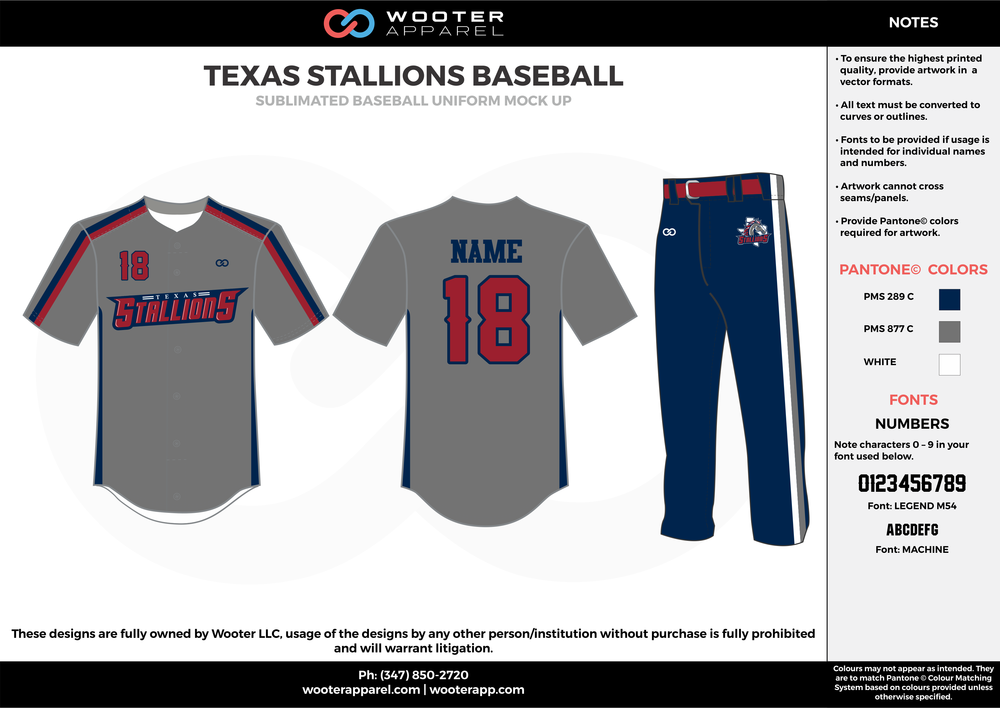 TEXAS STALLIONS BASEBALL black gray red white baseball uniforms jerseys pants
