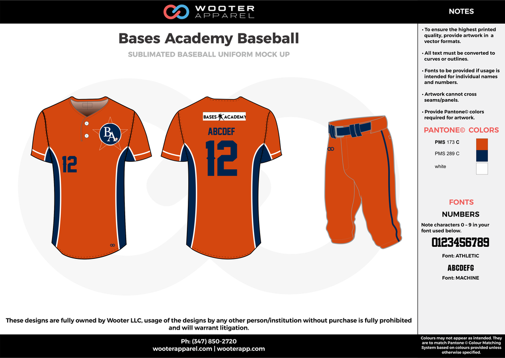 BASES ACADEMY BASEBALL orange blue white baseball uniforms jerseys pants