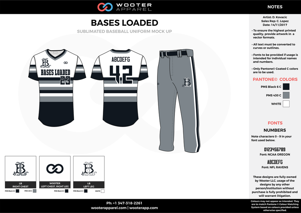 BASES LOADED black white gray baseball uniforms jerseys pants