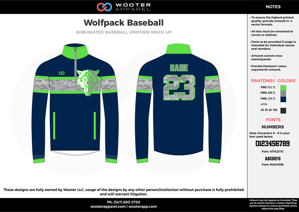 WOLFPACK BASEBALL navy blue green gray white baseball uniforms jerseys long sleeve