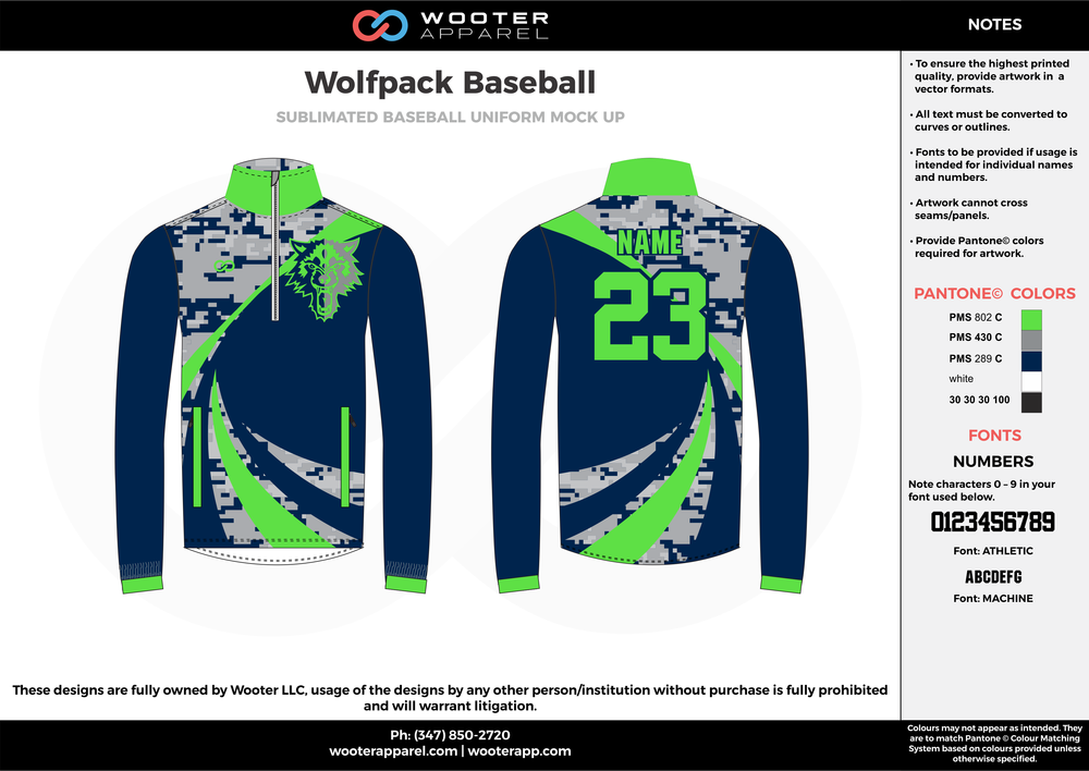 WOLFPACK BASEBALL green navy blue gray white baseball uniforms jerseys long sleeve
