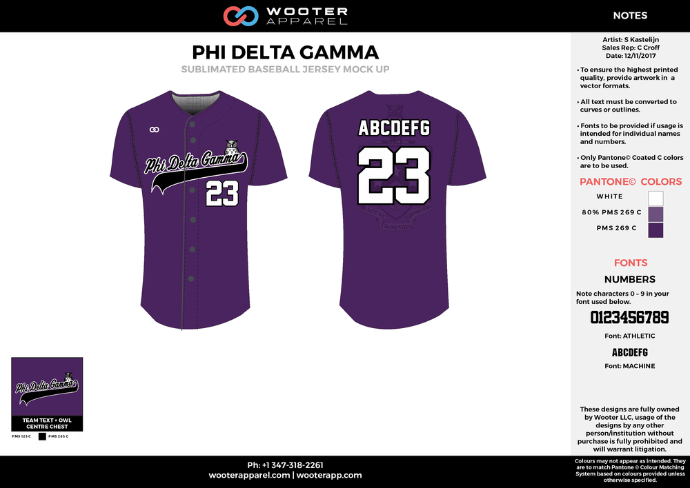 PHI DELTA GAMMA purple black white baseball uniforms jerseys tops