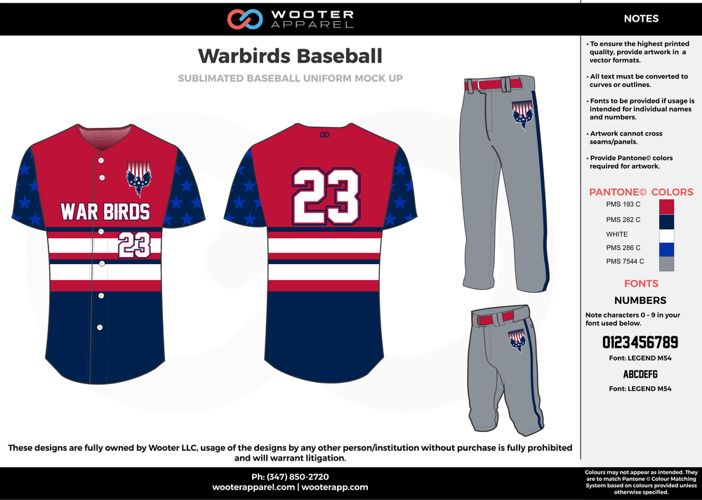 WARBIRDS BASEBALL red blue gray white baseball uniforms jerseys pants