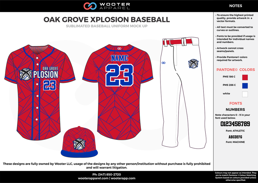 OAK GROVE XPLOSION BASEBALL red blue white baseball uniforms jerseys pants cap