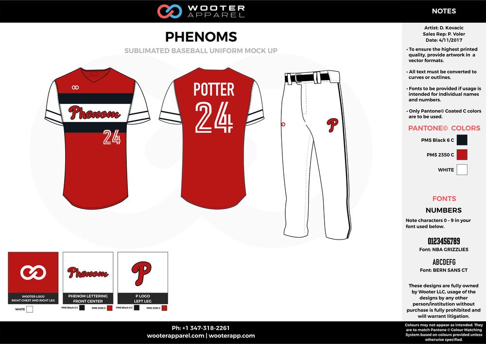 PHENOMS red black white baseball uniforms jerseys pants