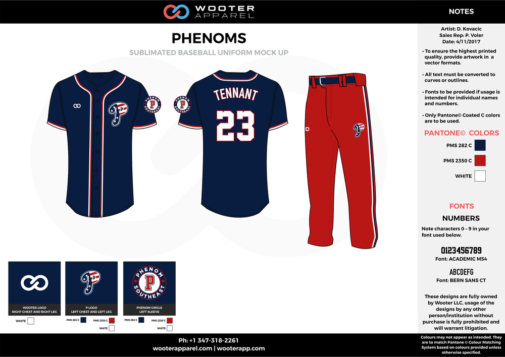 PHENOMS dark blue red white baseball uniforms jerseys pants
