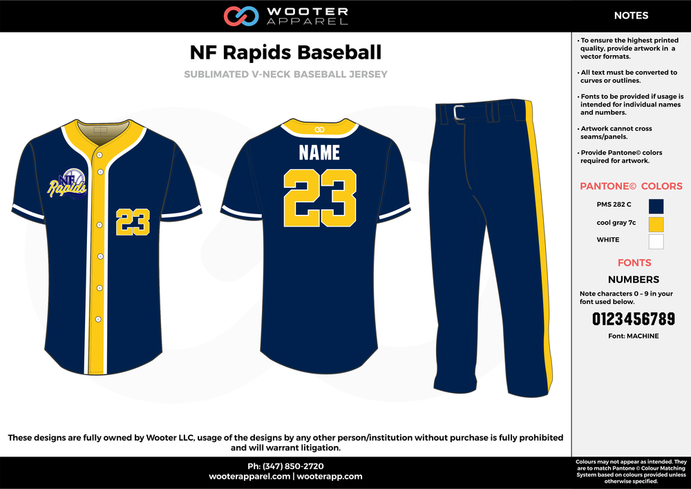 NF RAPIDS BASEBALL navy blue yellow white baseball uniforms jerseys pants
