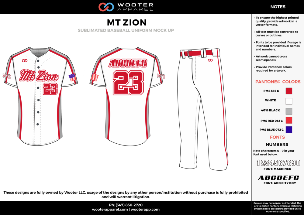 MT ZION white red gray blue baseball uniforms jerseys pants
