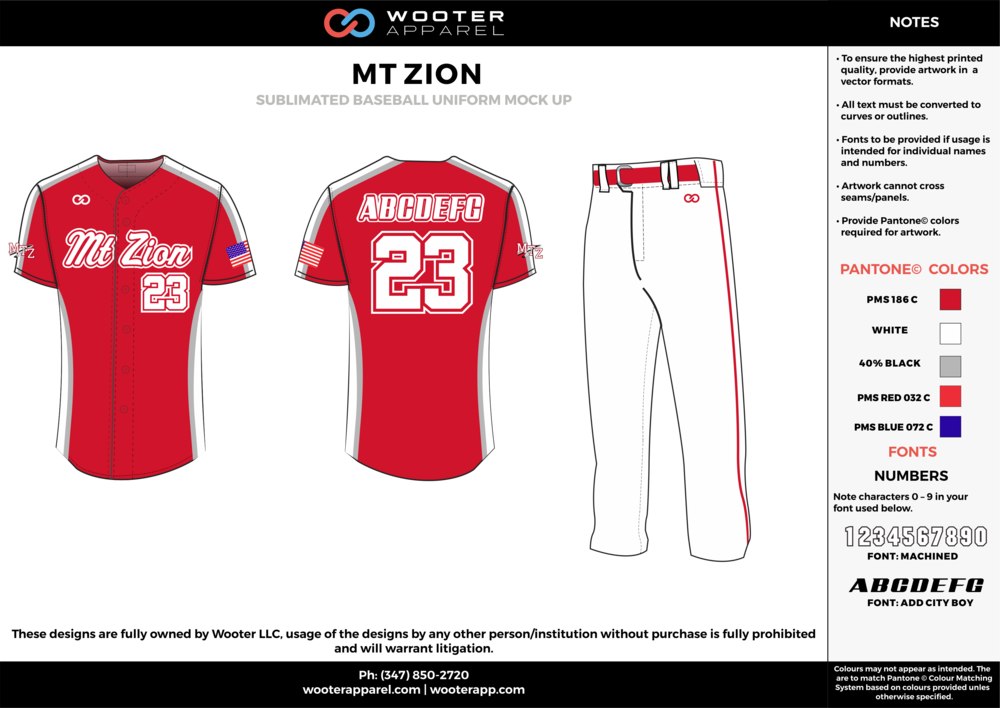 MT ZION red white gray blue baseball uniforms jerseys pants
