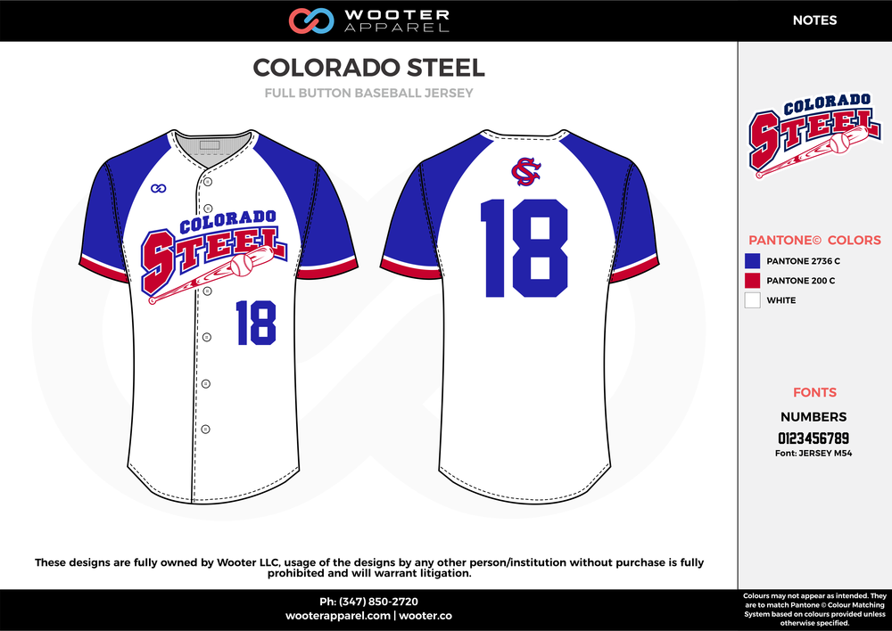 COLORADO STEEL blue white red baseball uniforms jerseys tops