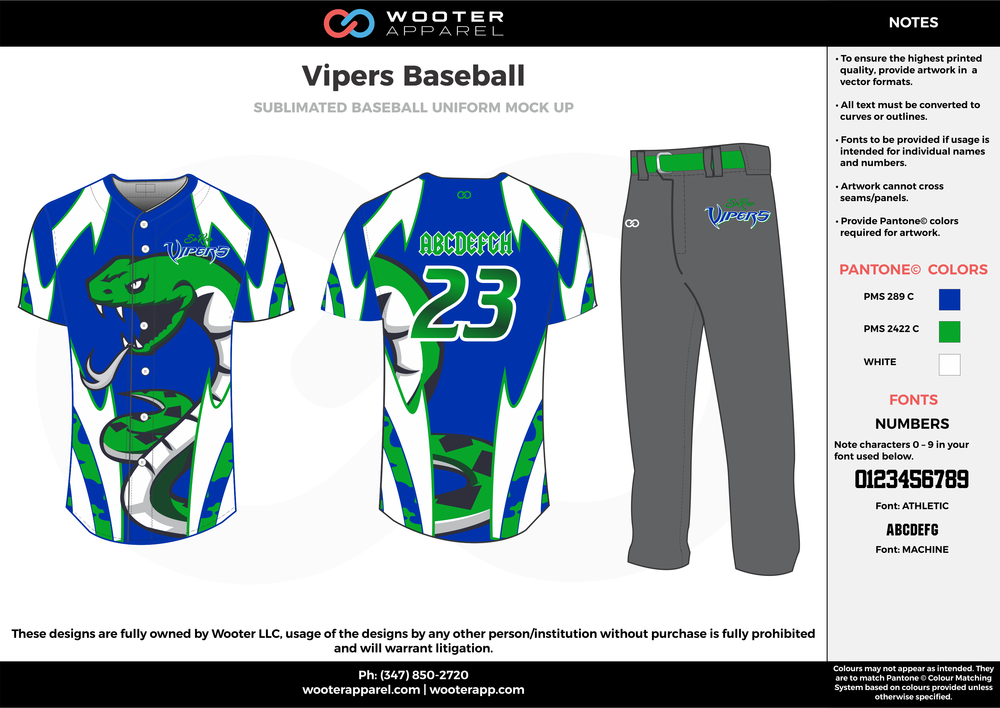 VIPERS BASEBALL blue green white gray baseball uniforms jerseys pants