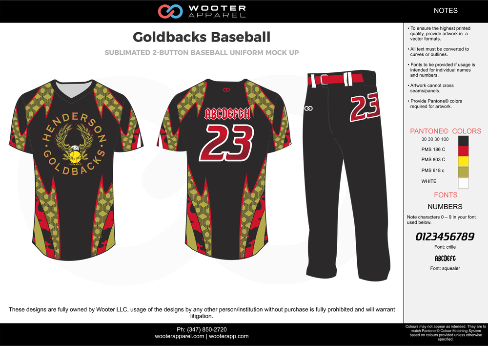 GOLDBACKS BASEBALL black red yellow gold white baseball uniforms jerseys pants