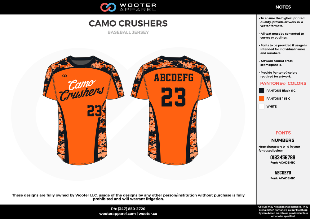 CAMO CRUSHERS orange black white baseball uniforms jerseys tops