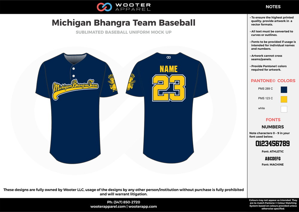 MICHIGAN BHANGRA TEAM BASEBALL dark blue yellow white baseball uniforms jerseys tops