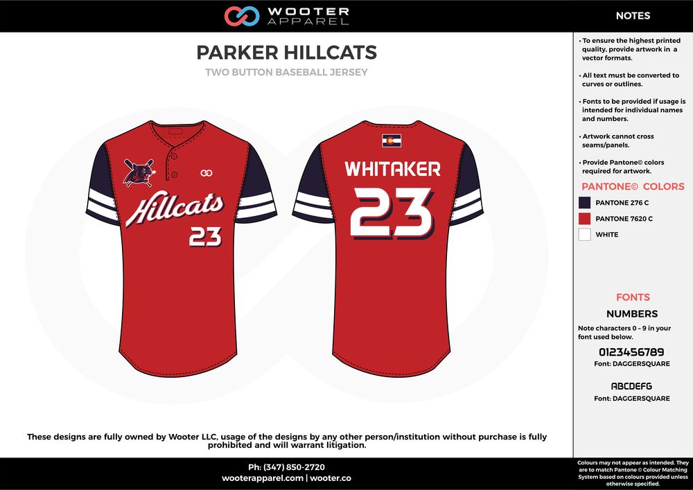 PARKER HILLCATS red black white baseball uniforms jerseys tops