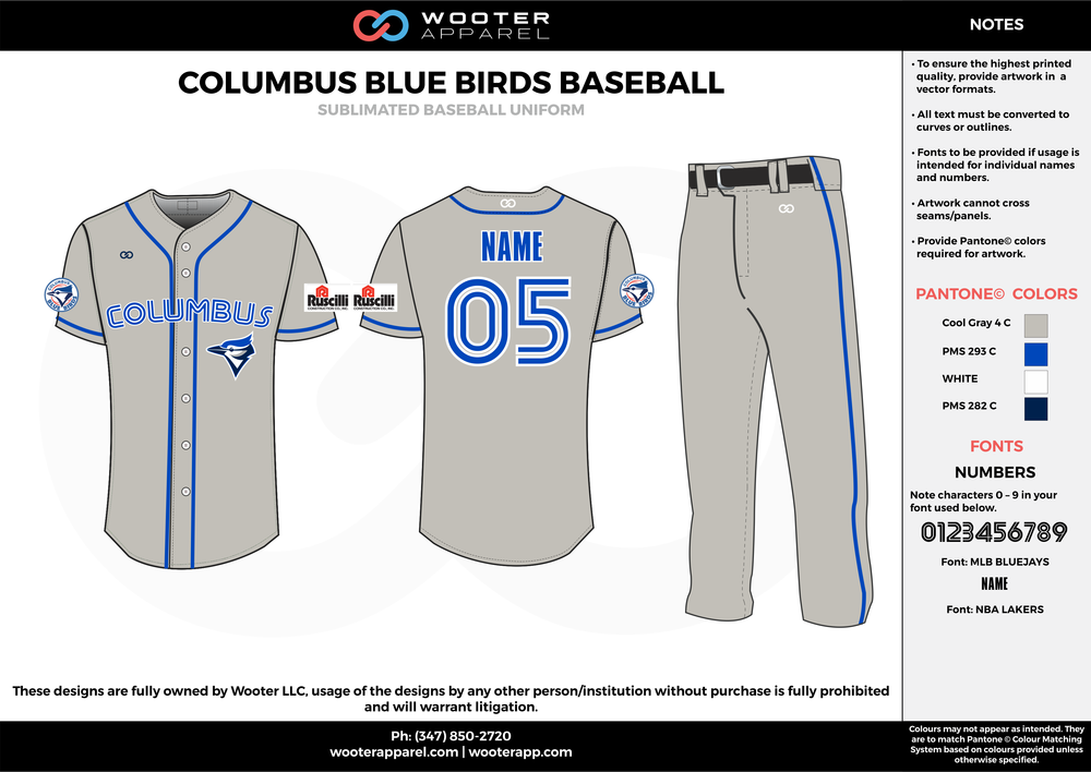 COLUMBUS BLUE BIRDS BASEBALL gray blue white black baseball uniforms jerseys pants