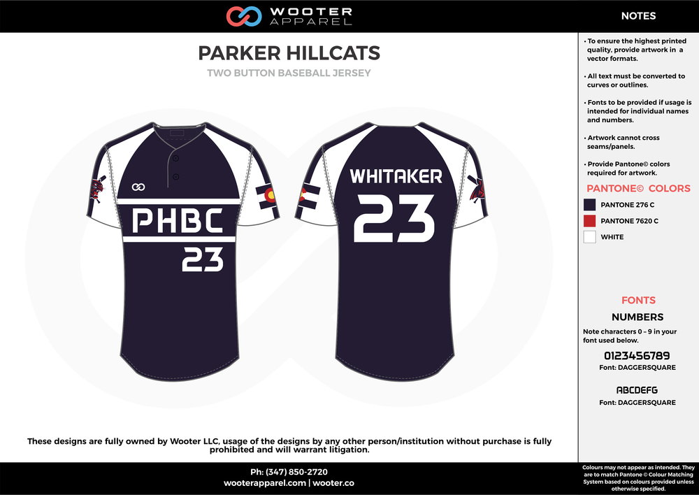 PARKER HILLCATS black red white baseball uniforms jerseys tops