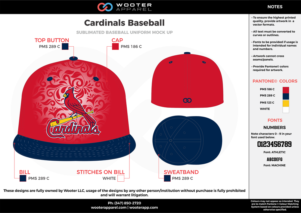 CARDINALS BASEBALL red blue yellow white baseball uniforms caps