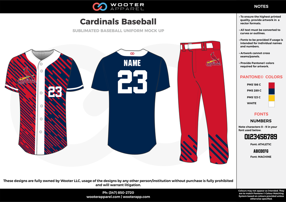 CARDINALS BASEBALL red dark blue yellow white baseball uniforms jerseys pants