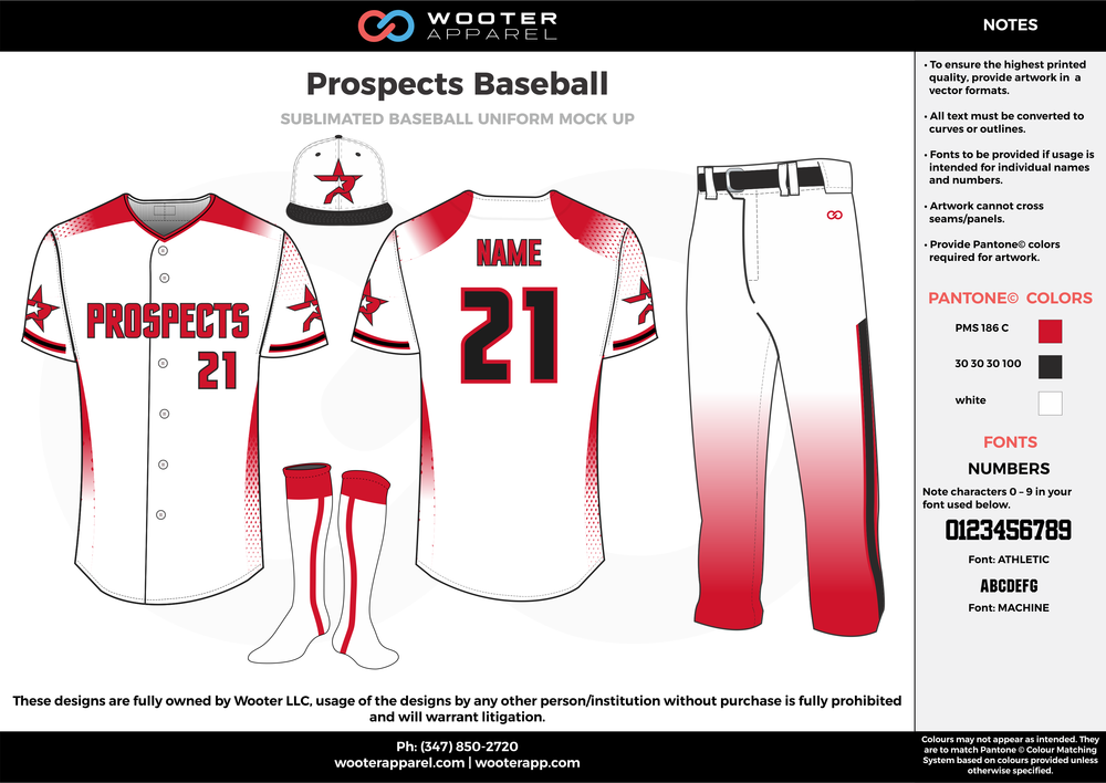 PROSPECTS BASEBALL red white black baseball uniforms jerseys pants