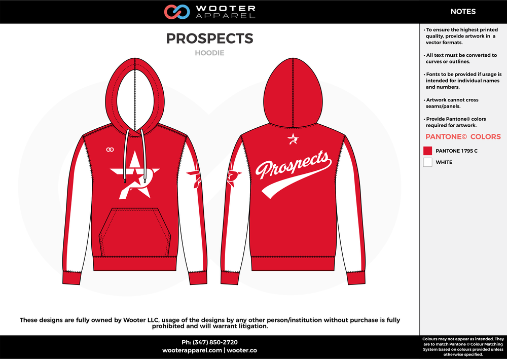 PROSPECTS red white baseball uniforms jerseys hoodie