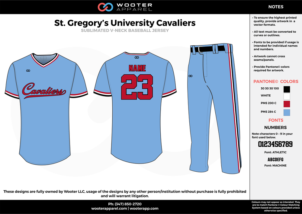 St Gregory's University Cavaliers - Sublimated Baseball Uniform - 2017 2.png