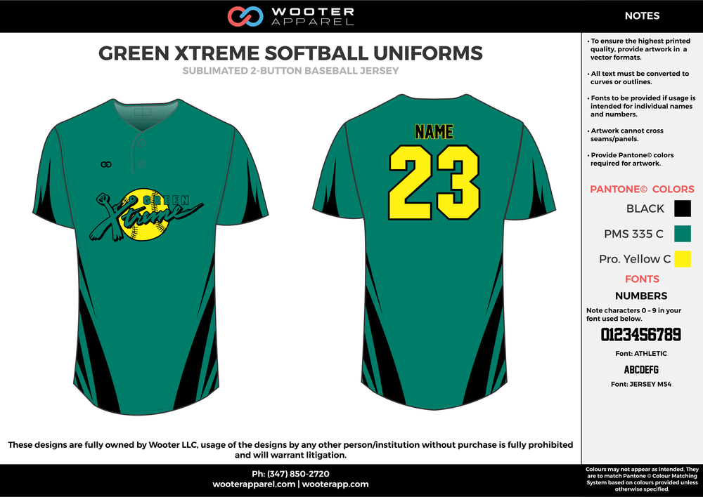 Green Xtreme Softball - Sublimated 2-Button Baseball Jersey - 2017 3.png
