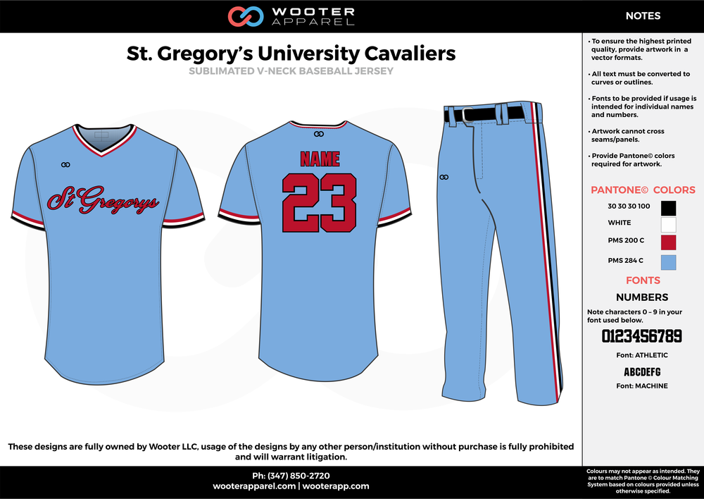 ST. GREGORY'S UNIVERSITY CAVALLERS blue white red black baseball uniforms jerseys pants