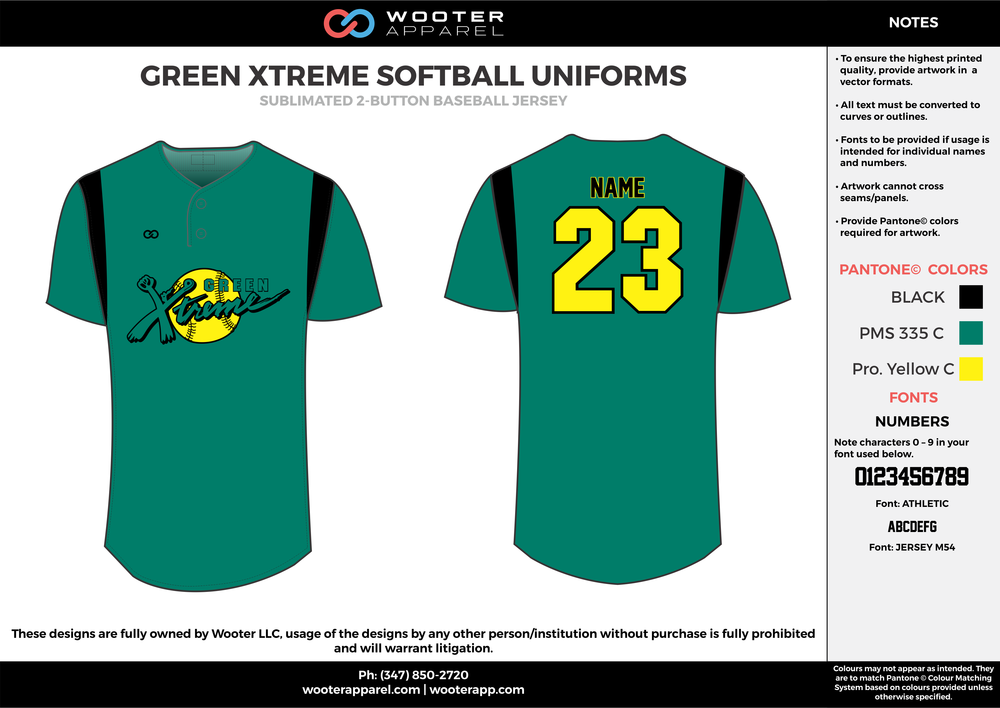 GREEN XTREME SOFTBALL UNIFORMS black green yellow baseball uniforms jerseys tops