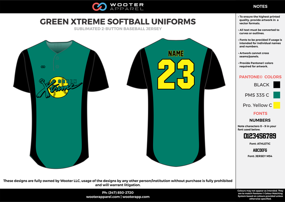 GREEN XTREME SOFTBALL UNIFORMS green black yellow baseball uniforms jerseys tops