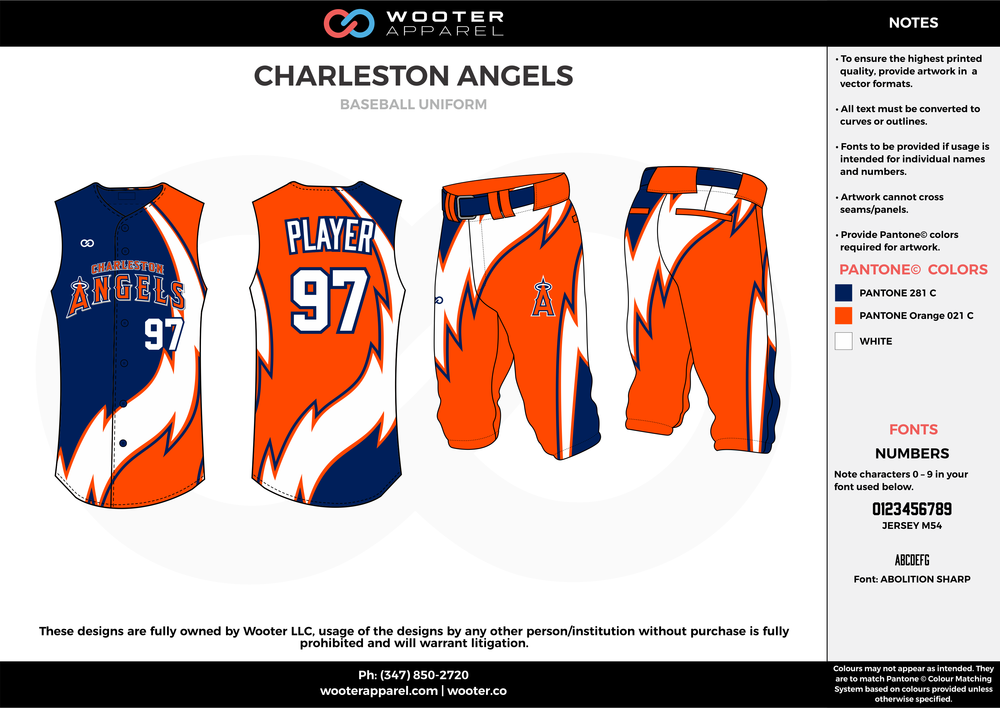 CHARLESTON ANGELS orange blue white baseball uniforms jerseys pants