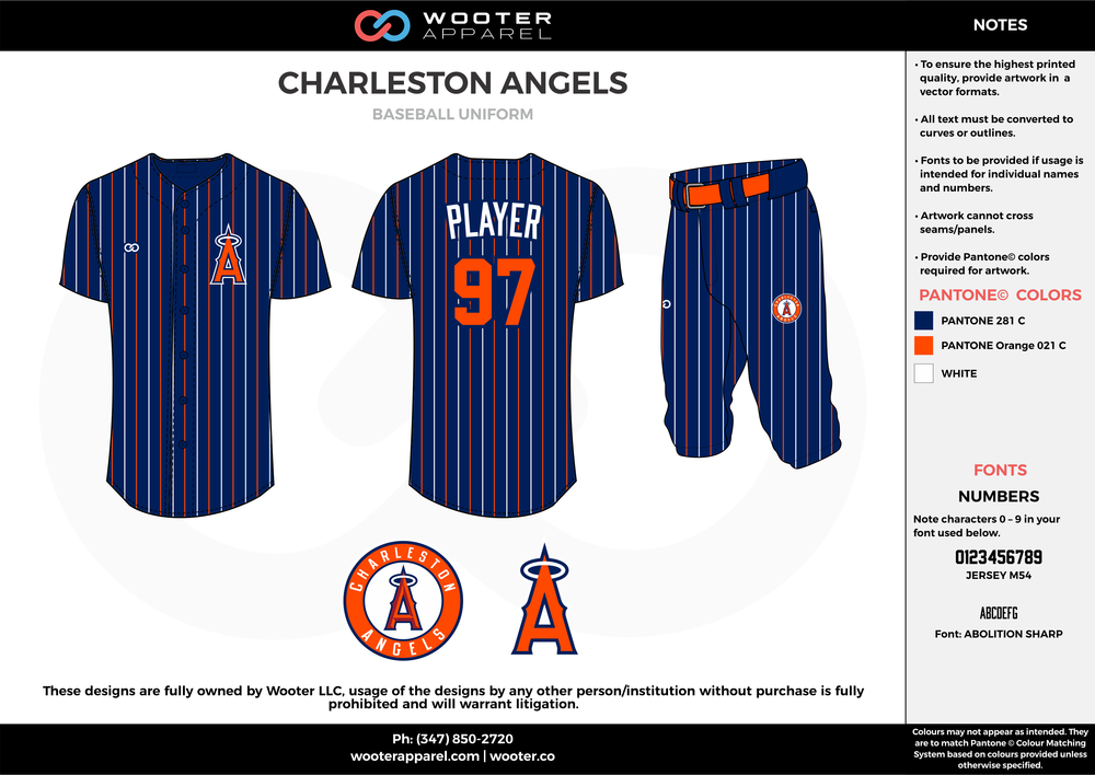 CHARLESTON ANGELS dark blue orange white baseball uniforms jerseys pants