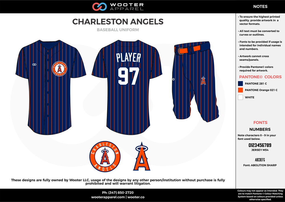 CHARLESTON ANGELS navy blue orange white baseball uniforms jerseys pants