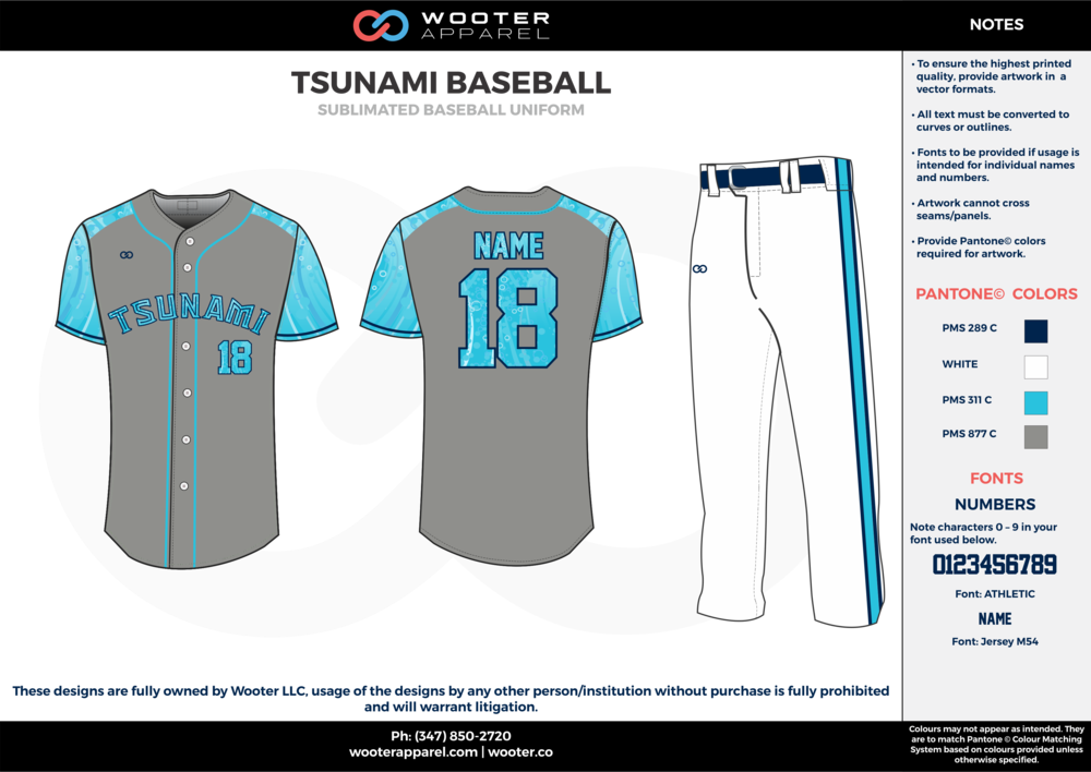 TSUNAMI BASEBALL light blue white gray dark blue baseball uniforms jerseys pants