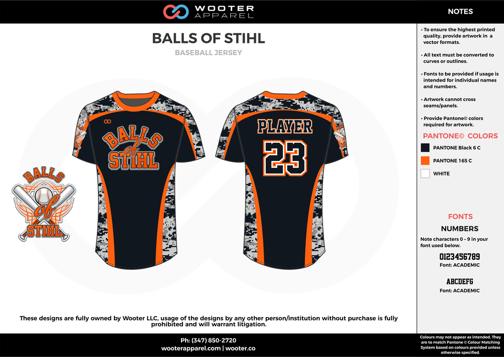 BALLS OF STIHL black orange white baseball uniforms jerseys tops