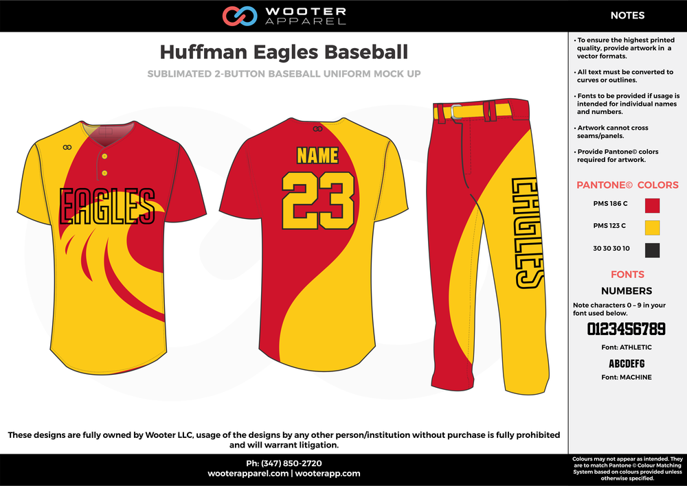 HUFFMAN EAGLES BASEBALL yellow red black baseball uniforms jerseys pants