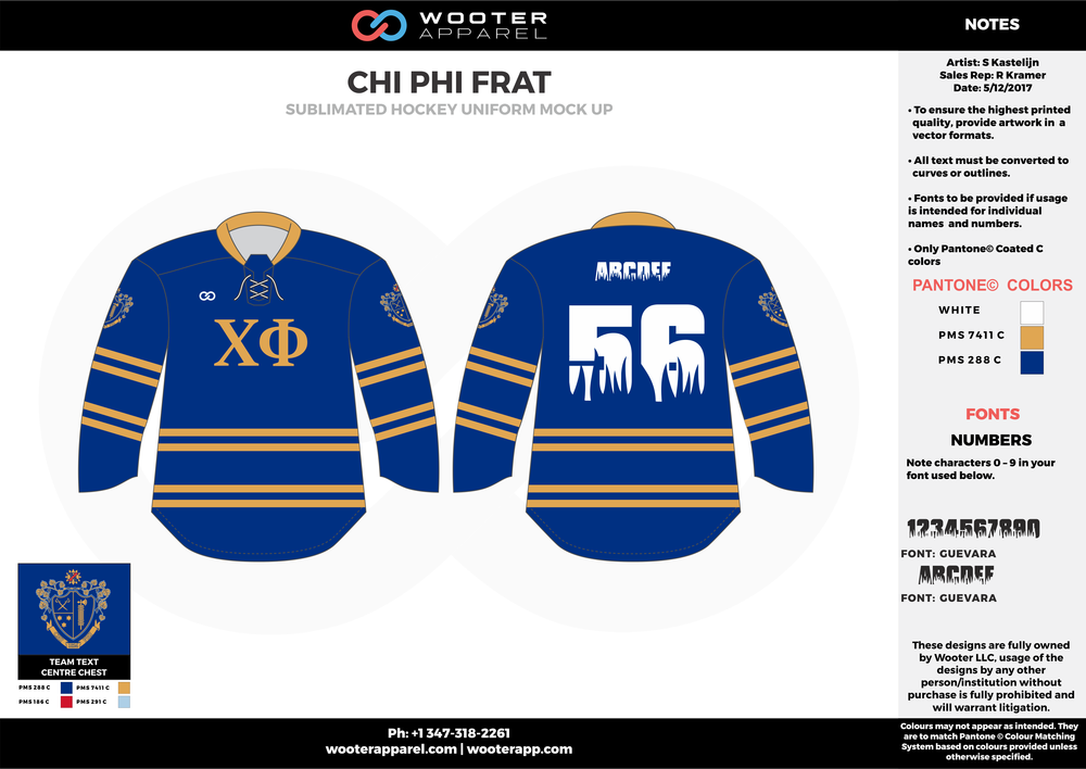 CHI PHI FRAT blue white yellow hockey uniforms jerseys