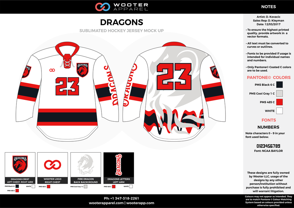 DRAGONS red white black gray hockey uniforms jerseys
