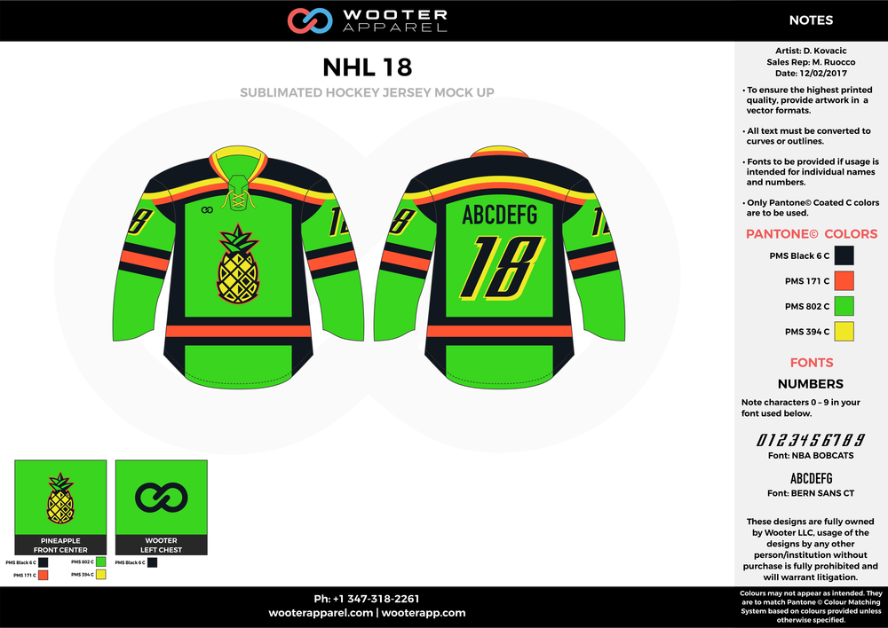 NHL 18 green black red yellow hockey uniforms jerseys