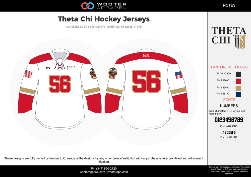 Theta Chi Hockey Jerseys white red gold blue black hockey uniforms jerseys
