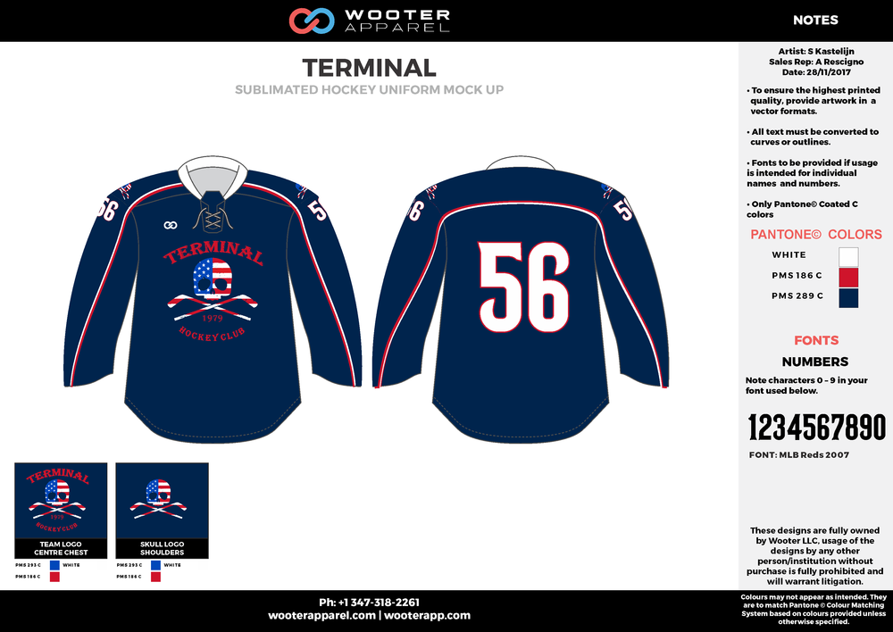 TERMINAL dark blue red white hockey uniforms jerseys