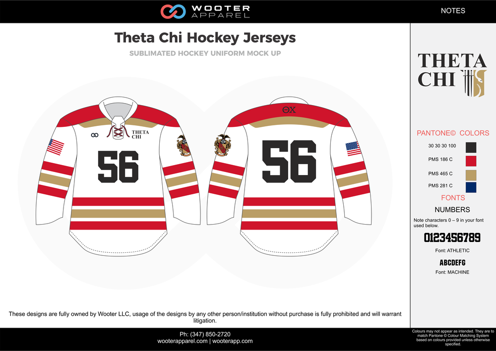 Theta Chi Hockey Jerseys white red black blue gold hockey uniforms jerseys
