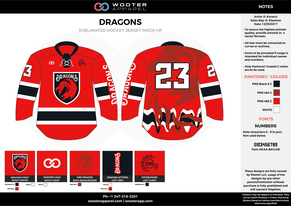 DRAGONS red black white hockey uniforms jerseys