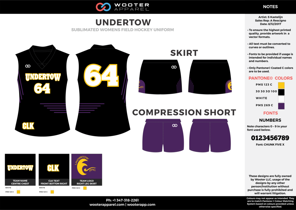 UNDERTOW black purple white yellow hockey uniforms jerseys skirts shorts