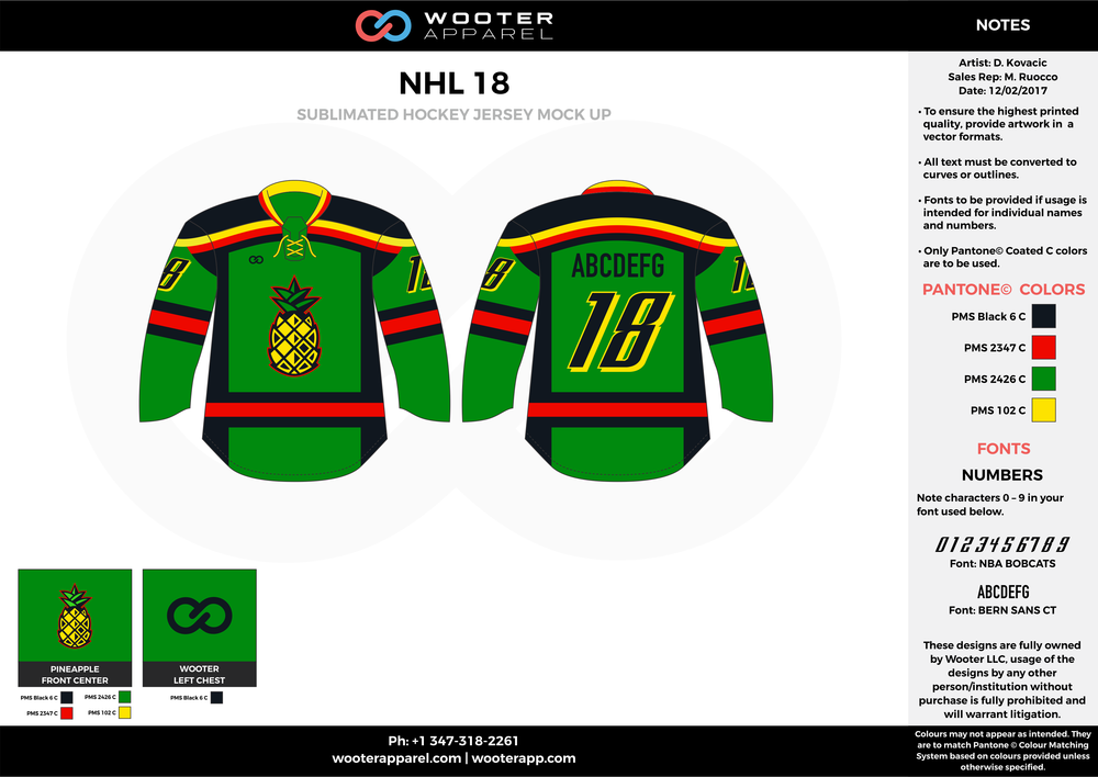 NHL 18 green red black yellow hockey uniforms jerseys