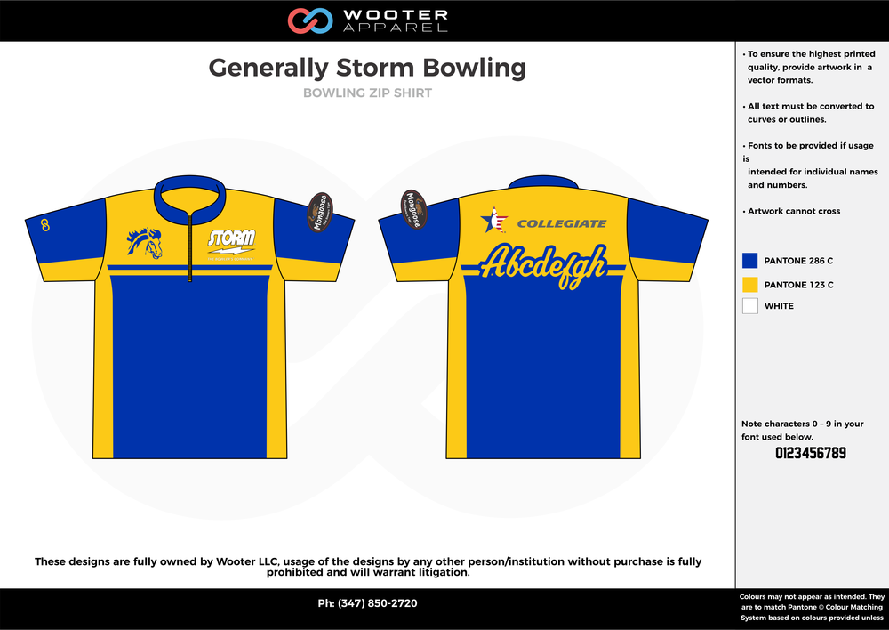 Generally Storm Bowling blue yellow white bowling uniforms, shirts, quarter zip polo