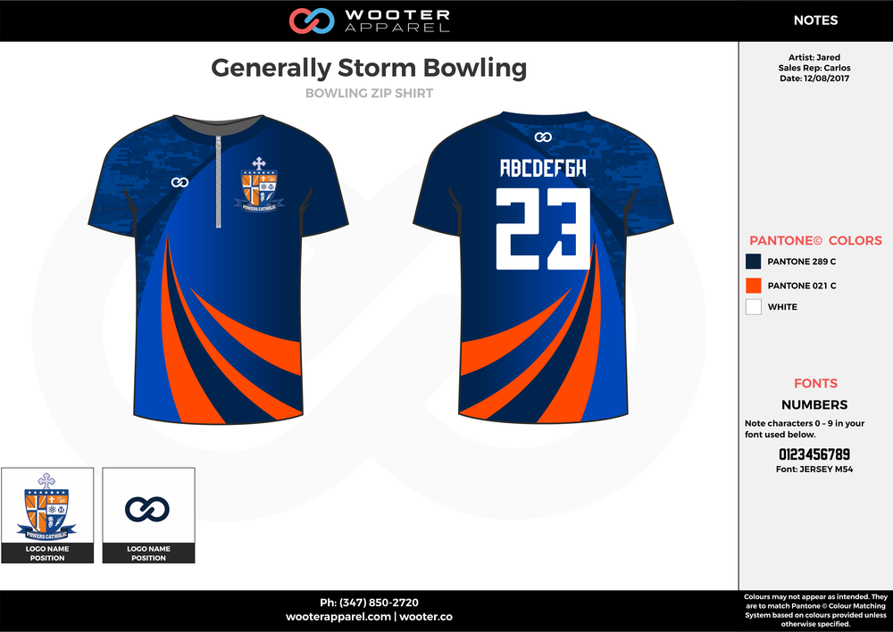 Generally Storm blue orange white bowling uniforms, shirts, quarter zip polo
