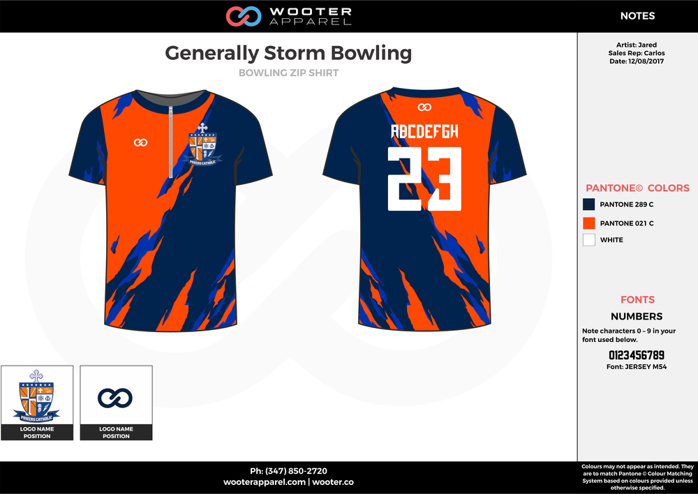 Generally Storm Bowling orange blue white bowling uniforms, shirts, quarter zip polo